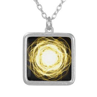 Lighting mandala silver plated necklace