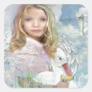 Lightness - Angel Feeding a Duck by a Pond Square Sticker