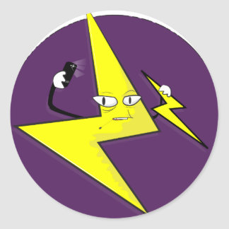 lightning bolt selfie round sticker