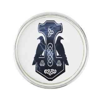 Lightning Bolt Thor's Hammer Lapel Pin