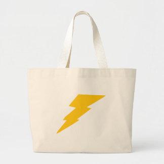 Lightning Bolt, yellow, thunder, storm, superhero Large Tote Bag