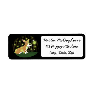 Lightning Bug Corgi Return Address Label