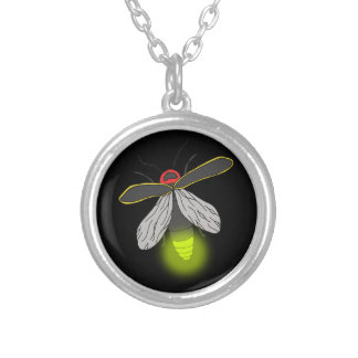 lightning bug flight lit silver plated necklace
