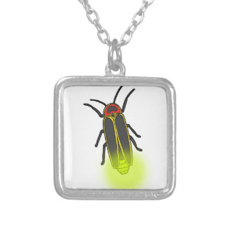lightning bug lit silver plated necklace