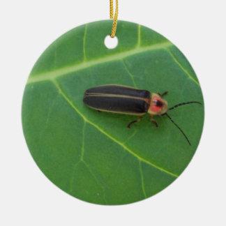 Lightning Bug on Leaf Ceramic Ornament