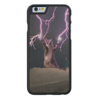 Lightning cat--kitty-pet-feline-pet cat -kittens carved maple iPhone 6 case
