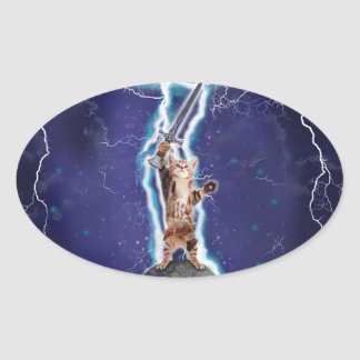 Lightning Cat Oval Sticker