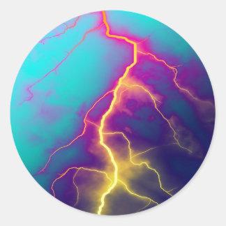 lightning color art classic round sticker