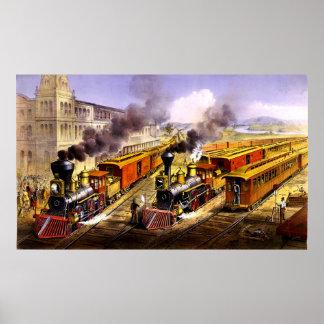 Lightning Express American railway Print