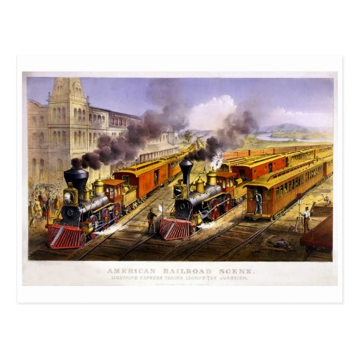 Lightning Express: An American Train Scene Post Card