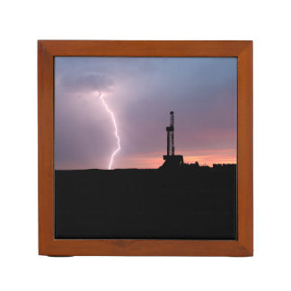 Lightning, Oil Drilling Rig, Purple Orange Sunrise Desk Organiser
