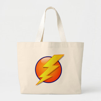 lightning orb energy icon vector large tote bag