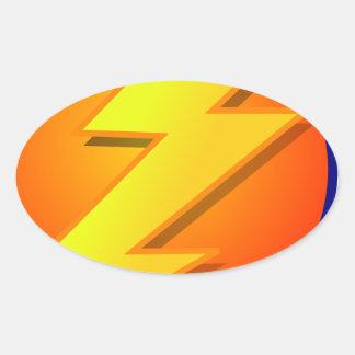 lightning orb energy icon vector oval sticker