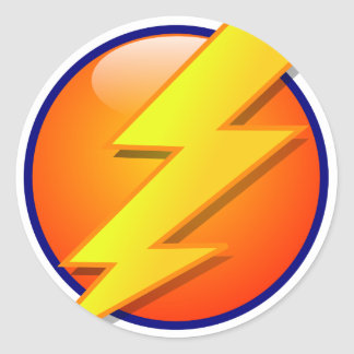 lightning orb energy icon vector round sticker