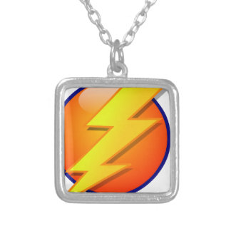 lightning orb energy icon vector silver plated necklace