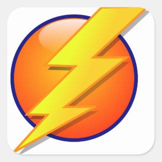 lightning orb energy icon vector square sticker