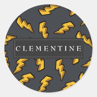 Lightning Pattern Classic Round Sticker