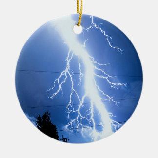 Lightning Strike 2 Round Ceramic Decoration