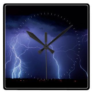 Lightning Strike 3 Square Wallclocks