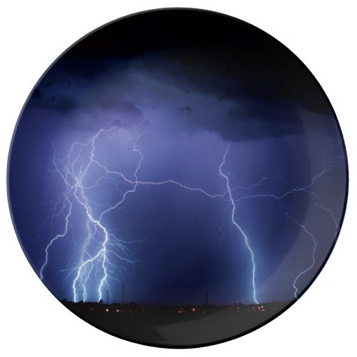 Lightning Strike 3 Porcelain Plates