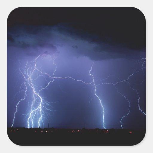 Lightning Strike 3 Square Stickers