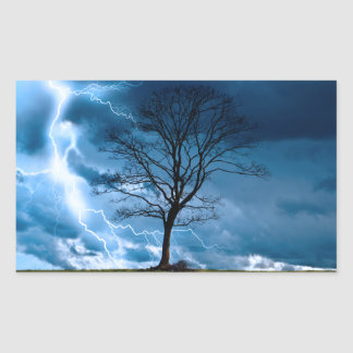 Lightning Strike Rectangular Sticker