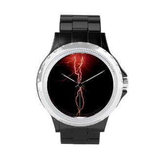 Lightning Strike Rhinestone with Black Enamel Wrist Watch