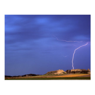 Lightning strikes buttes near Scottsbluff Postcard