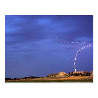Lightning strikes buttes near Scottsbluff Postcard