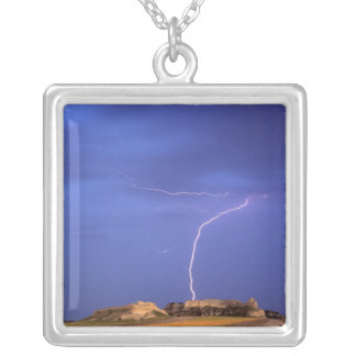 Lightning strikes buttes near Scottsbluff Square Pendant Necklace