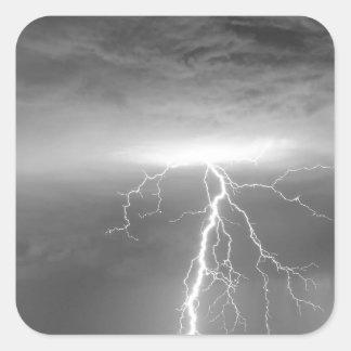 Lightning Strikes Following the Rain BWSC Square Stickers