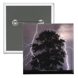 Lightning Strikes In The Sky Behind A Tree 15 Cm Square Badge