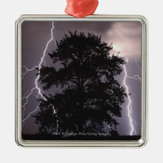 Lightning Strikes In The Sky Behind A Tree Metal Ornament