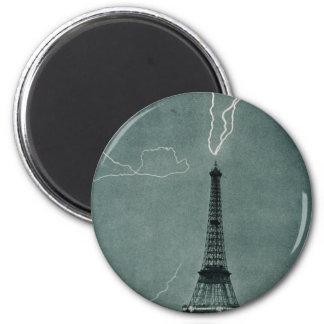 Lightning Strikes the Eiffel Tower, 1902 Magnet