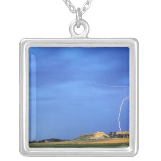 Lightning strikes the Wildcat Hills near Square Pendant Necklace