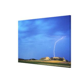 Lightning strikes the Wildcat Hills near Stretched Canvas Print