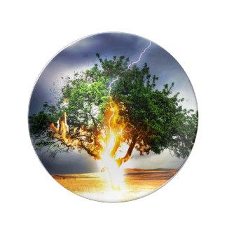 Lightning Striking Tree During Storm Porcelain Plates