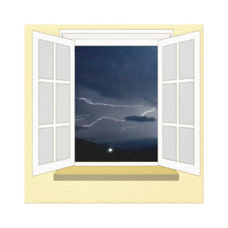 Lightning through a Window Canvas Print