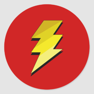 Lightning Thunder Bolt Round Sticker