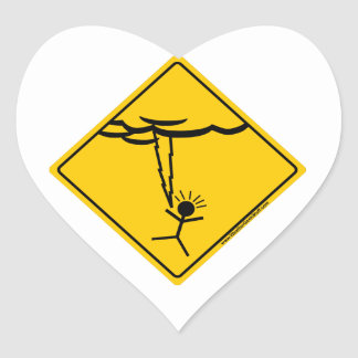 Lightning Weather Warning Merchandise and Clothing Heart Sticker