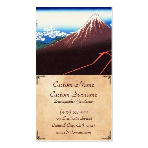 Lightnings below the summit Katsushika Hokusai Business Card Template