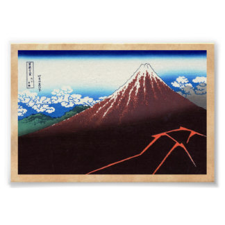 Lightnings below the summit Katsushika Hokusai Poster