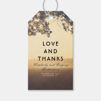 Lights and Tree Branches Rustic Wedding Gift Tags