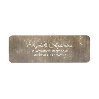 Lights and Wood Dreamy Wedding Return Address Label