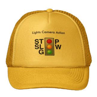 Lights camera action gold truckers cap. cap