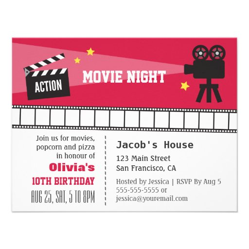 Lights Camera Action Movie Night Birthday Party Personalized Announcement