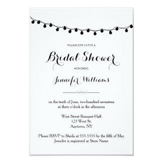 Lights cute B&W rustic bridal shower invitations