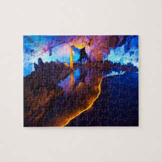 Lights in Reed Flute Cave, China Jigsaw Puzzle