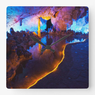 Lights in Reed Flute Cave, China Square Wall Clock