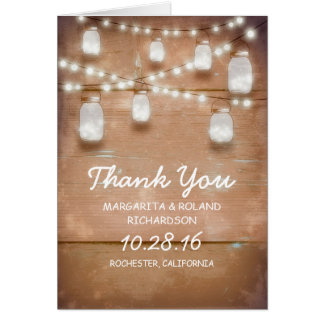 lights mason jar rustic wood thank you cards
